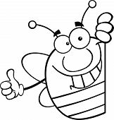 Black And White Pudgy Bee Character Giving A Thumb Up Behind A Sign