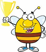 Pudgy Bee Character Holding Golden Trophy Cup