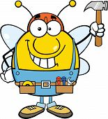 Pudgy Bee Worker Holding Up A Hammer