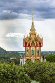 Interior and windows of Wat tham khao noi buddhist temple, Kanchanaburi, Thailand