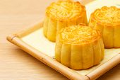 Chinese traditional mooncake on plate