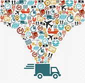 Shipping Icons Set Fast Delivery Truck Concept Illustration.