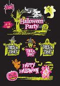 stock photo of ghoul  - Halloween hand drawn design set on a black background - JPG