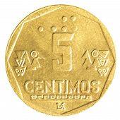 5 Peruvian Nuevo Sol Centimos Coin