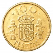 image of spanish money  - 100 spanish pesetas coin isolated on white background - JPG