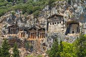 stock photo of dalyan  - Kaunian rock tombs in Dalyan, Ortaca, Turkey