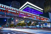 TAIPEI, TAIWAN - JANUARY 18: Pedestrian overpass in the Xinyi District January 18, 2013 in Taipei, Taiwan. The district is the commercial and financial heart of the city.