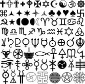 stock photo of hieroglyphic symbol  - various historical and religious symbols drawn in vector format - JPG