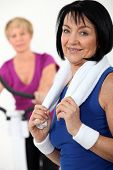 picture of transpiration  - Woman working out at the gym - JPG
