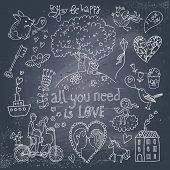Romantic vintage set in cartoon style on chalkboard background. Couple of lovers under the tree and on tandem bicycle, hearts, chip, rabbit, unicorn, keys, cupcake and other stylish concept elements