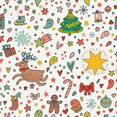 Cartoon Christmas and New Year background in vector with deer, bell, bow, fir tree, cookie, mitten and other holiday elements. Can be used for pattern fills, web page backgrounds, surface textures
