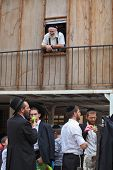 Bnei Brak - September 22: Picturesque scene: A group of young religious Jews in black velvet skullca