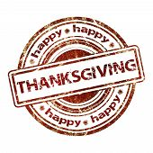 Happy Thanksgiving Grunge Rubber Stamp