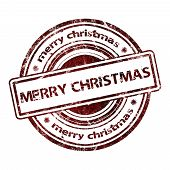 Merry Christmas Grunge Rubber Stamp