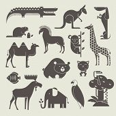 pic of wild horses  - vector animals set - JPG