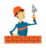 builder with trowel vector illustration isolated on white background EPS10. Transparent objects and