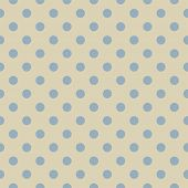 Seamless vector pattern, texture or background with baby blue polka dots on beige background