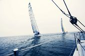 stock photo of sailing vessels  - Sailing ship yachts with white sails in the open sea - JPG