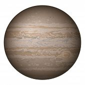 Planet Jupiter, isolated on white
