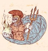 stock photo of poseidon  - hand draw design poseidon king of sea death color - JPG