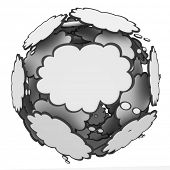 Many thought clouds in a sphere to illustrate many ideas, creativity, inspiration and imagination