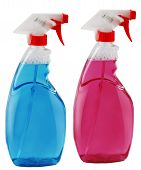 stock photo of trigger sprayer bottle  - Spray bottle with blue and rose liquid - JPG