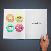 Kids Inside A Pos Printed On Book. Vector Design