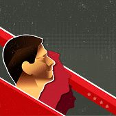 Vector's communist red retro poster background with people and place for text