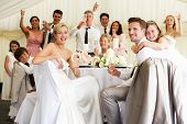 stock photo of marquee  - Bride And Groom Celebrating With Guests At Reception - JPG