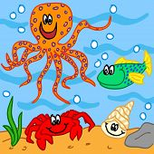 stock photo of octopus  - Fun handdrawn marine life cartoon characters - JPG