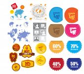 Vector globe and icons set