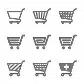 Shopping cart icons. Vector.