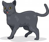 Illustration of a Cute Russian Blue Cat