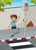 Illustration of a happy boy waving his hand near the pedestrian lane