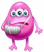 Illustration of an injured pink monster on a white background