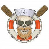 creepy sailor skull with lifesaver and paddles