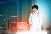 Image of young male doctor. Concept of modern technology