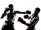 stock photo of studio shots  - two caucasian  men exercising thai boxing in silhouette studio  on white background - JPG