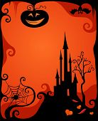 Halloween illustration with castle and pumpkins, bats and spider