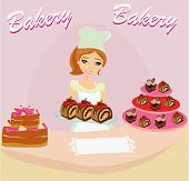 Bakery Store - Saleswoman Serving Chocolate Cakes