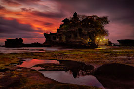 picture of tanah  - sunset over hindu temple Pura Tanah Lot - JPG