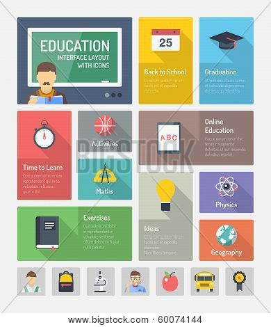 Education Flat Web Elements With Icons poster