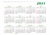 horizontal oriented calendar grid of 2011 year decorated