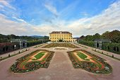 Area with flower beds regular geometric forms. Sch�?�?�?�¶nbrunn - the summer residence of the