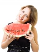 Woman Smile Holding Watermelon