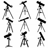 picture of speculum  - Set vector silhouettes of telescopes isolated on white - JPG