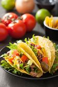 picture of tacos  - taco shells with beef and vegetables - JPG