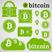 image of bitcoin  - Set of icons with letter B - JPG
