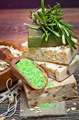 Handmade Soap with the branches of rosemary