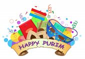 stock photo of purim  - Colorful banner with Purim symbols and Happy Purim text in the center - JPG